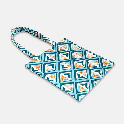 order colourful cotton bag from Africa with blue-yellow diamond pattern online