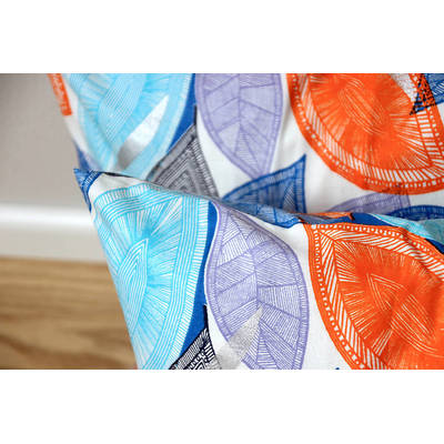Buy colorful cushion cover African Fall with blue-orange leaf pattern 50x50cm