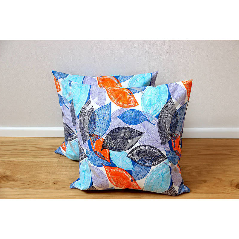 colorful cushion cover African Fall with blue-orange leaf pattern 50x50cm online
