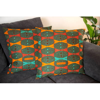 Buy colorful cushion cover Highlife with orange bow tie pattern 50x50cm