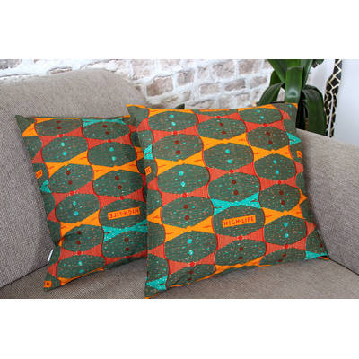 African pillowcase Highlife with orange bow tie design 50x50cm online