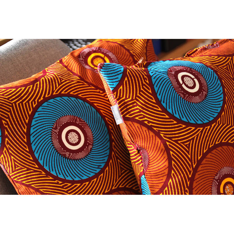 Buy colorful pillowcase African Mama with orange blue circle design 50x50cm