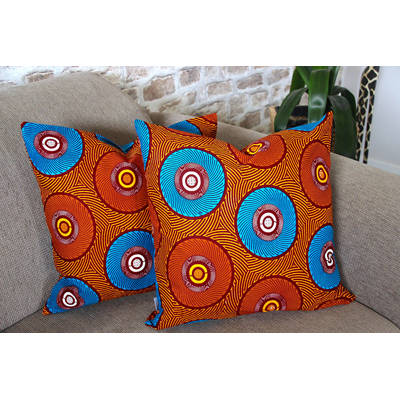 Buy colorful cushion cover Mama Africa with orange-blue circle pattern 50x50cm