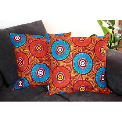 colorful cushion cover Mama Africa with orange-blue circle design 50x50cm online