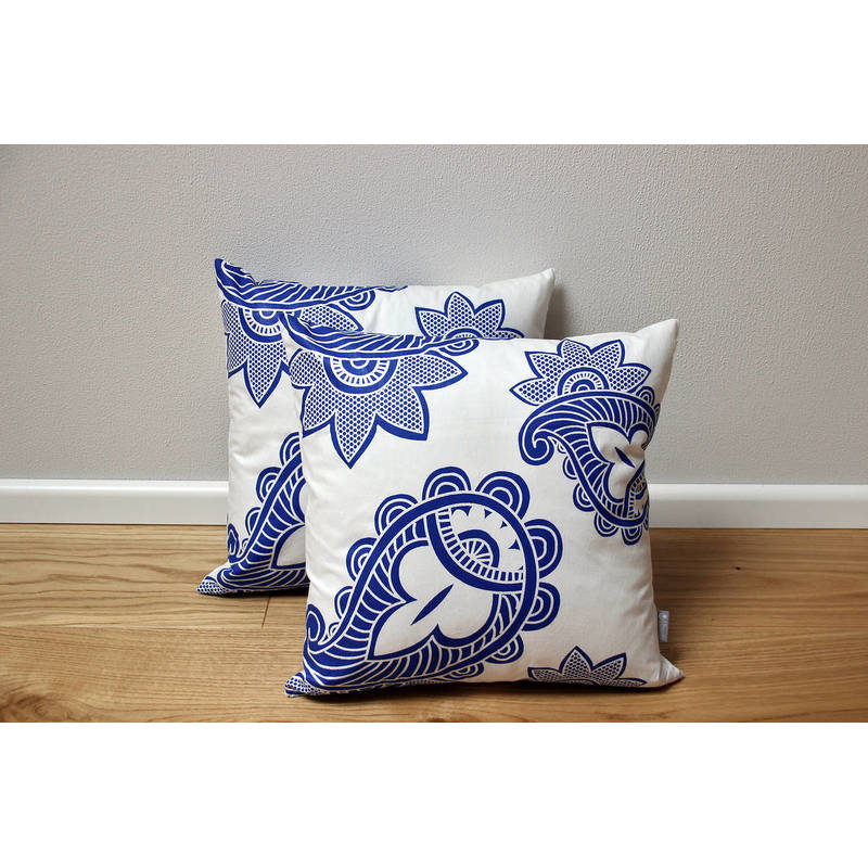 African cushion cover Afia with white-blue paisley pattern 40x40cm online