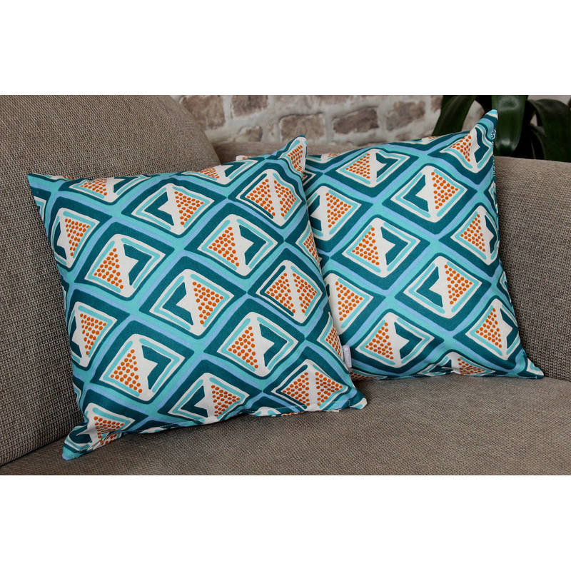 African pillowcase Kwame with dark turquoise-yellow diamond pattern 40x40cm online