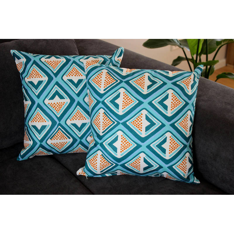 Buy African cushion cover Kwame with dark turquoise-yellow diamond pattern 40x40cm