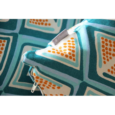 African cushion cover Kwame with dark turquoise-yellow diamond pattern 40x40cm online