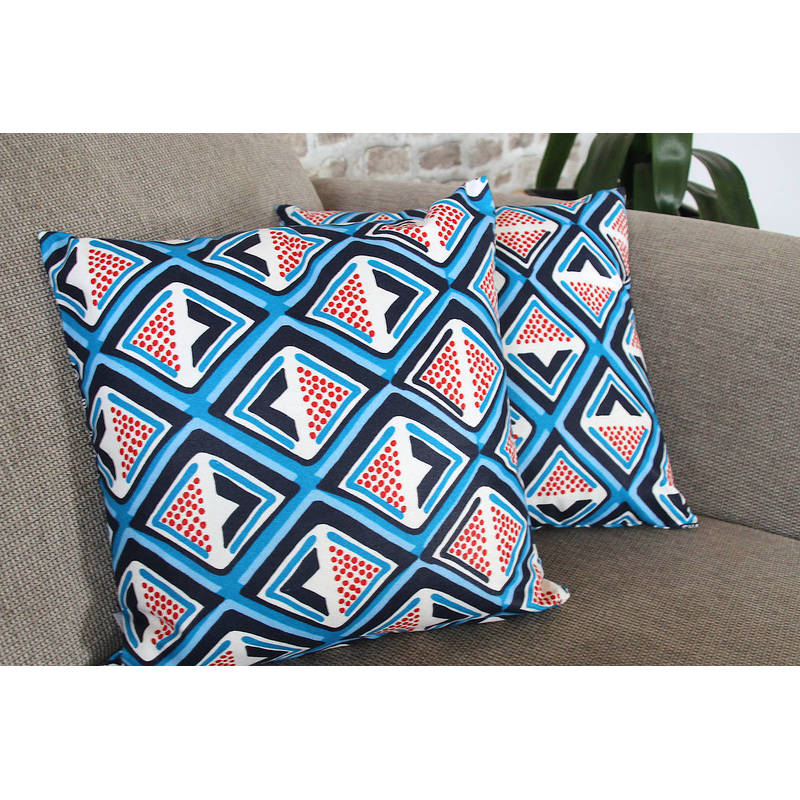 Buy colorful cushion cover Kwame with dark blue-red diamond pattern 40x40cm