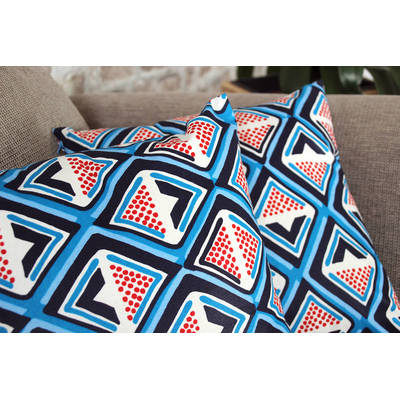 colorful cushion cover Kwame with dark blue-red diamond pattern 40x40cm online