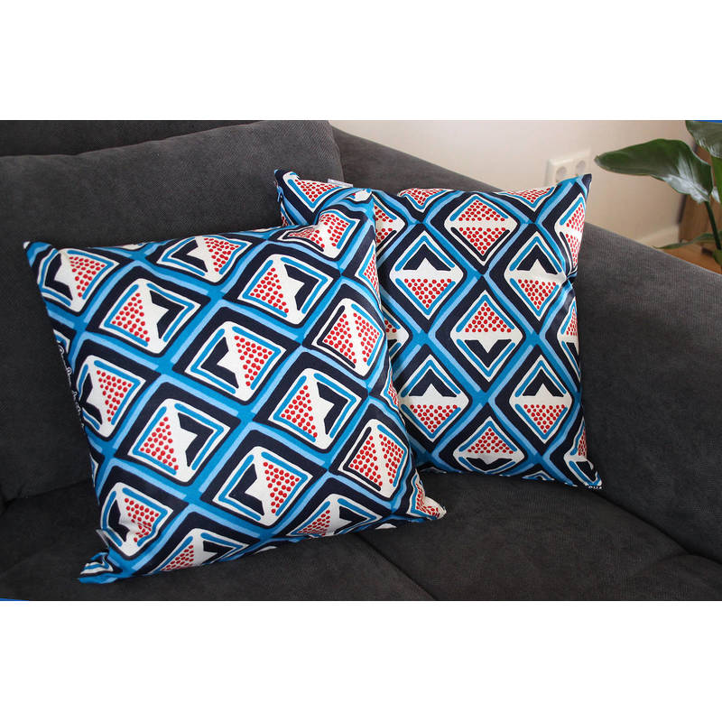 Buy African pillowcase Kwame with dark blue-red diamond pattern 40x40cm