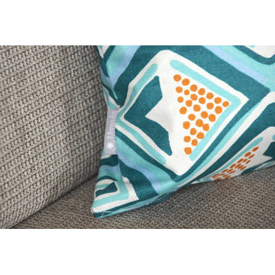 Buy African cushion cover Kwame with bright turquoise-yellow diamond pattern 40x40cm
