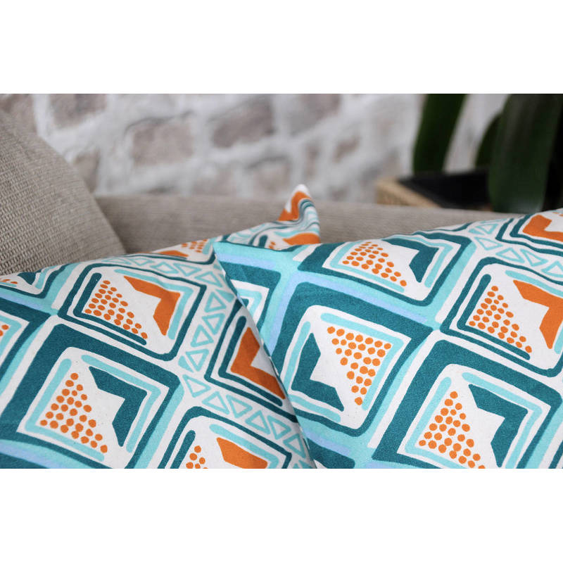 African cushion cover Kwame with bright turquoise-yellow diamond pattern 40x40cm online