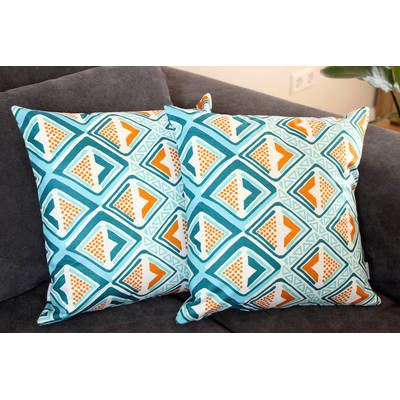 Buy colorful pillowcase Kwame with bright turquoise-yellow diamond 40x40cm