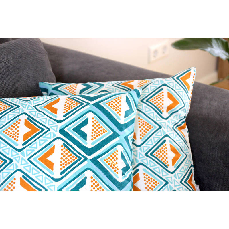 colorful pillowcase Kwame with bright turquoise-yellow diamond pattern 40x40cm online