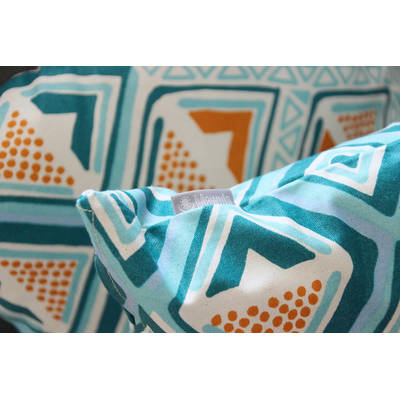 Buy colorful cushion cover Kwame with bright turquoise-yellow diamond pattern 40x40cm