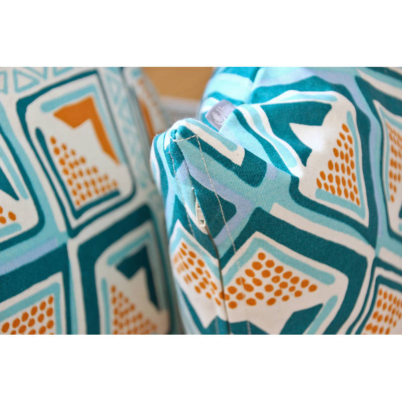 colorful cushion cover Kwame with bright turquoise-yellow diamond pattern 40x40cm online