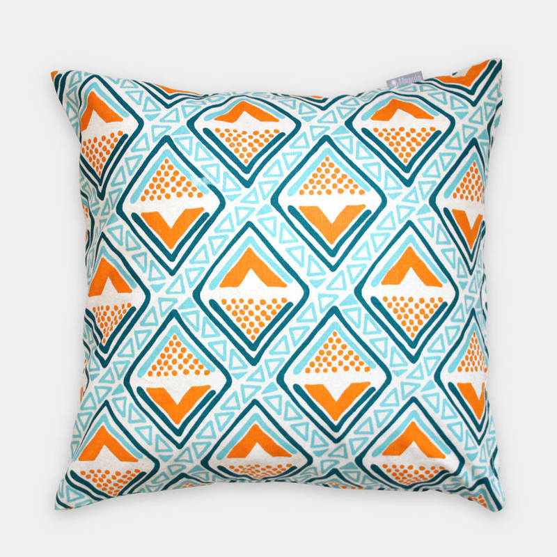 Buy African pillowcase Kwame with bright turquoise-yellow diamond pattern 40x40cm