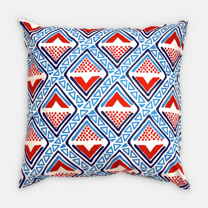 colorful pillowcase Kwame with bright blue-red diamond pattern 40x40cm online