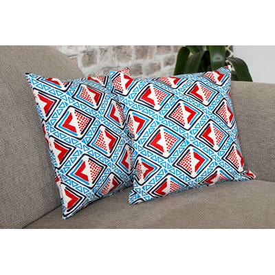 Buy colorful cushion cover Kwame with bright blue-red diamond pattern 40x40cm