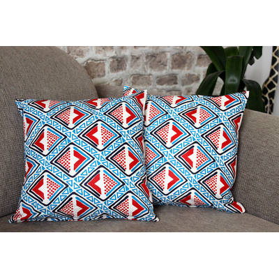 colorful cushion cover Kwame with bright blue-red diamond pattern 40x40cm online