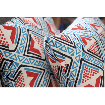 Buy African pillowcase Kwame with bright blue-red diamond pattern 40x40cm