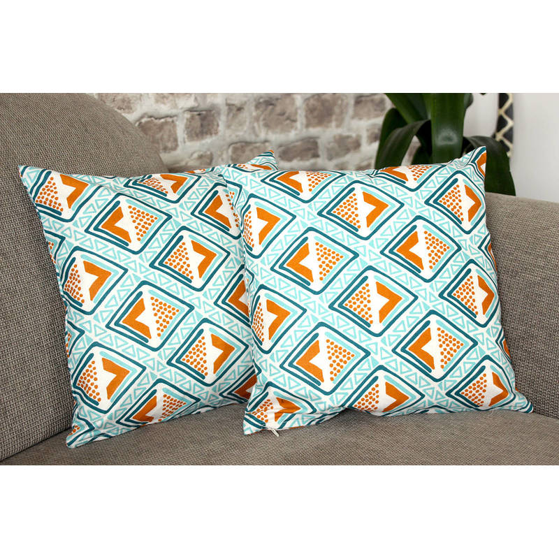 African pillowcase Kwame with bright turquoise-yellow diamond pattern 40x40cm online