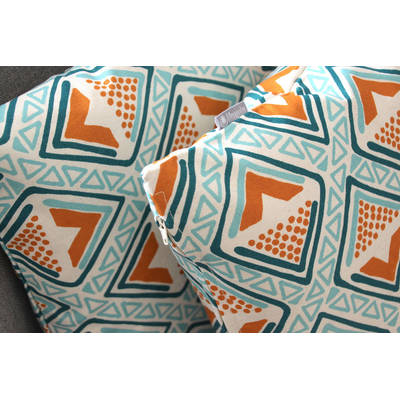 Buy colorful pillowcase Kwame with bright turquoise-yellow diamond pattern 40x40cm