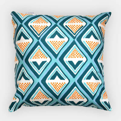 Buy African pillowcase Kwame with dark turquoise-yellow diamond pattern 40x40cm